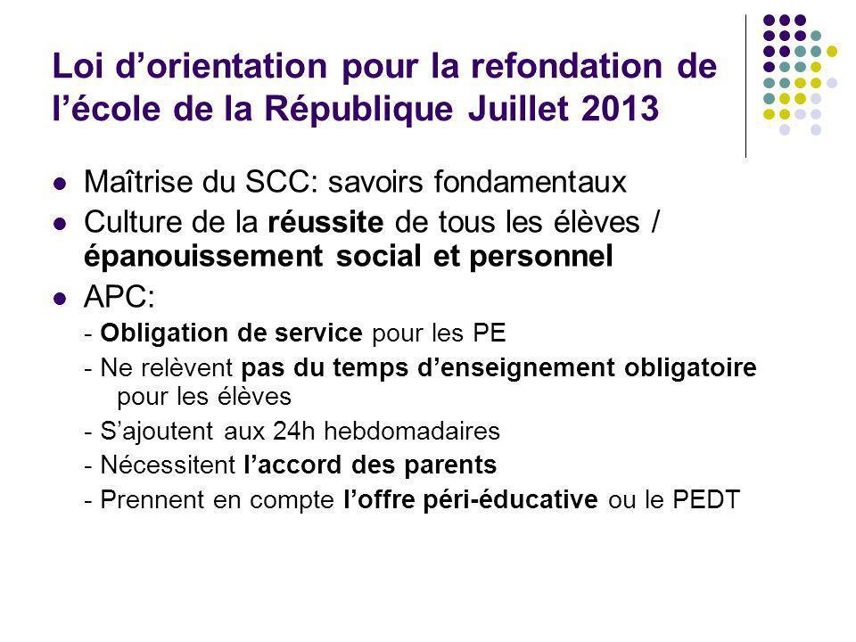 Loi d'orientation pour la refondation de l'école de la République Juillet 2013