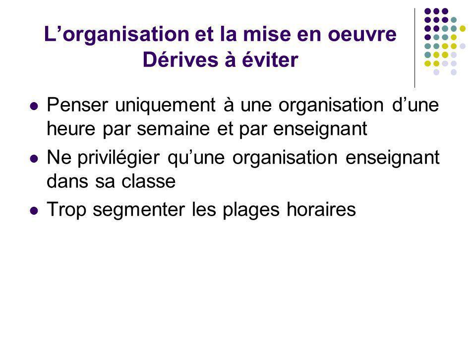 L'organisation et la mise en oeuvre Dérives à éviter