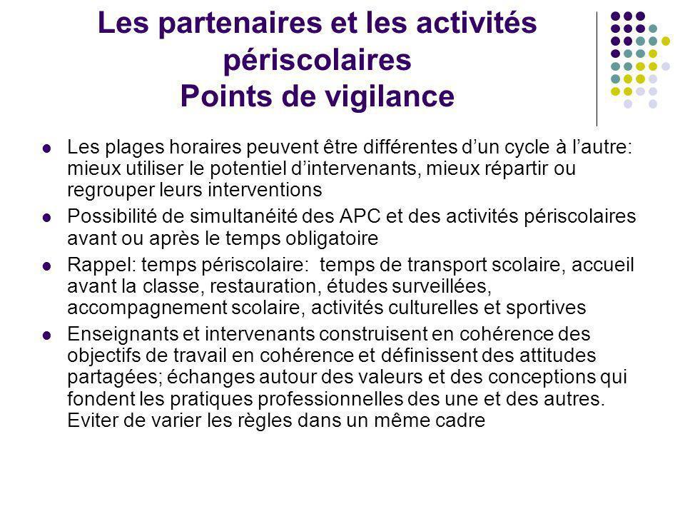 Les partenaires et les activités périscolaires Points de vigilance
