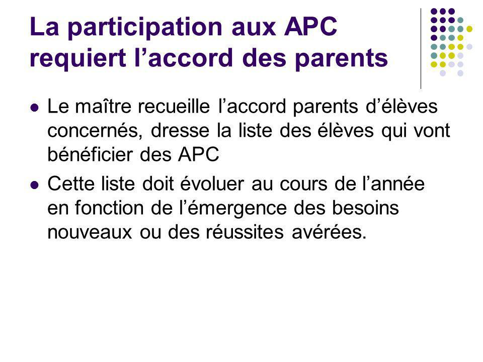 La participation aux APC requiert l'accord des parents
