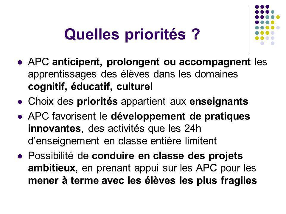 Quelles priorités APC anticipent, prolongent ou accompagnent les apprentissages des élèves dans les domaines cognitif, éducatif, culturel.