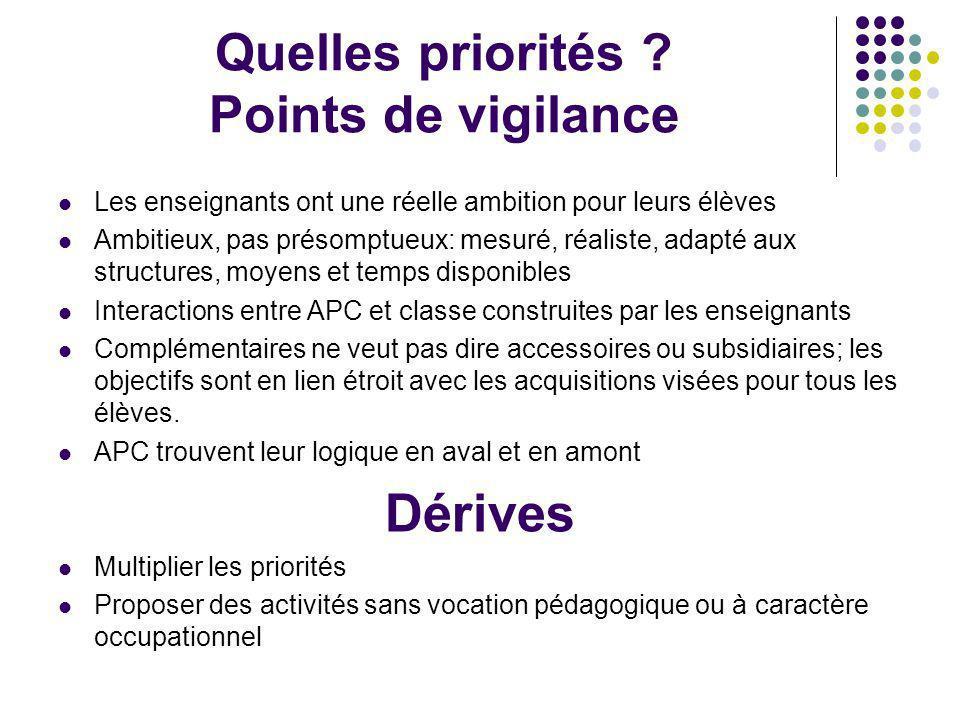 Quelles priorités Points de vigilance
