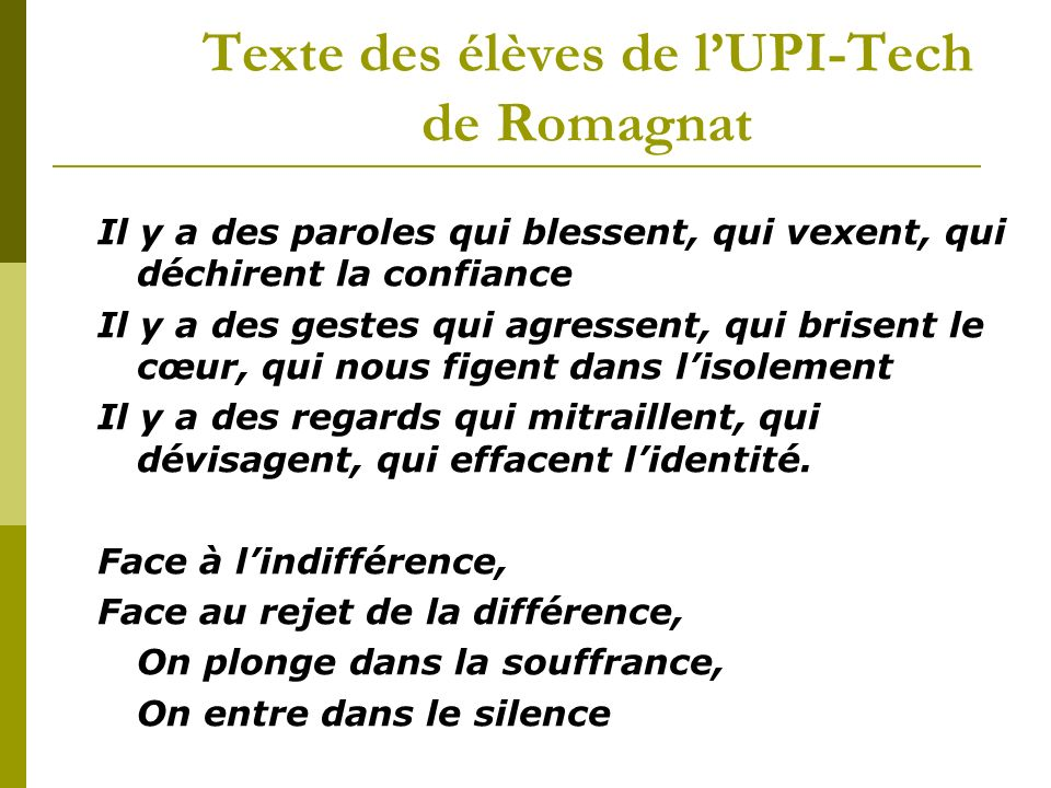 Texte des élèves de l'UPI-Tech de Romagnat