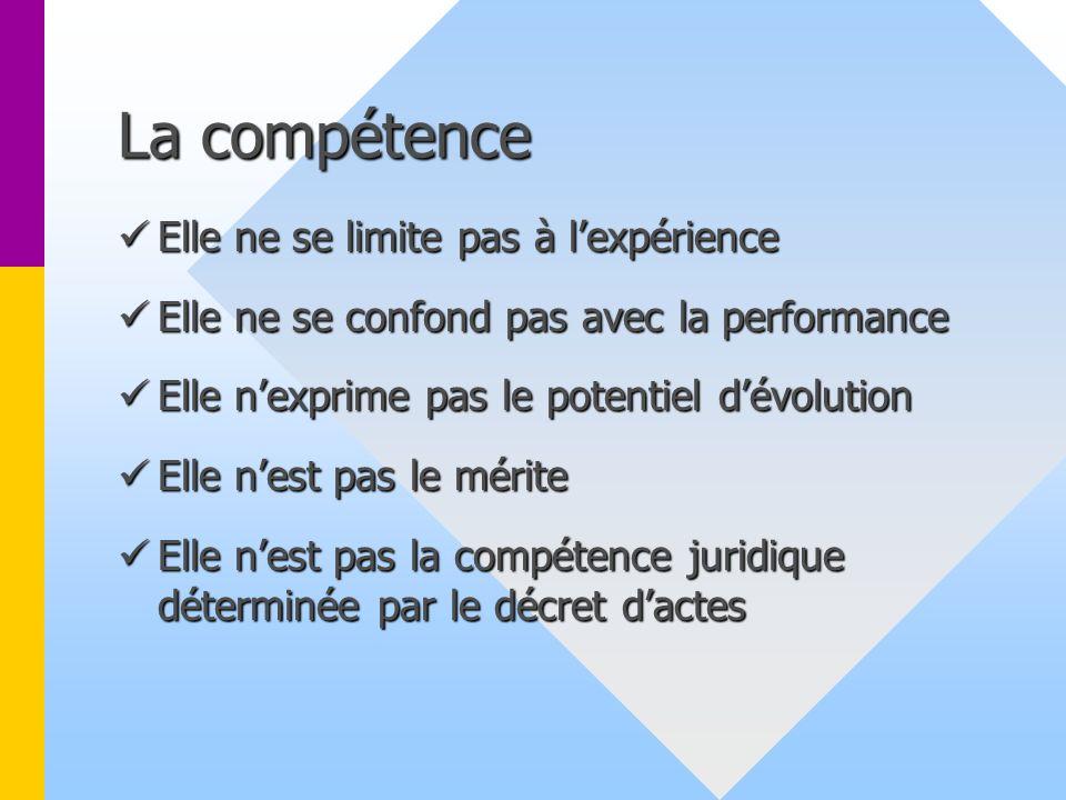 La compétence Elle ne se limite pas à l'expérience