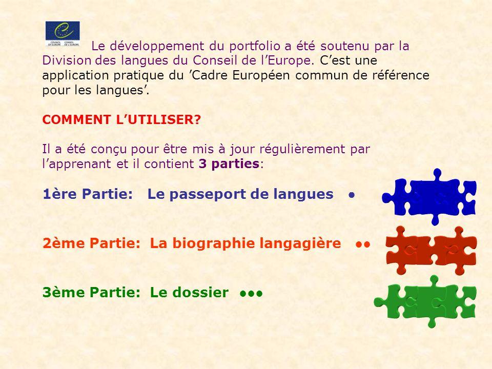 1ère Partie: Le passeport de langues ●