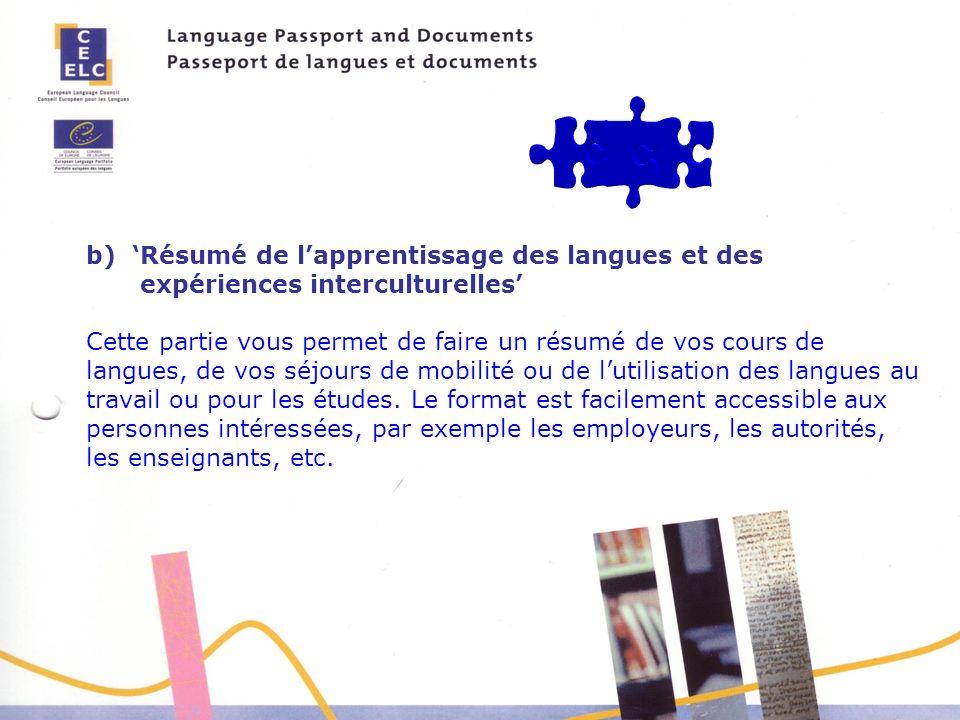 b) 'Résumé de l'apprentissage des langues et des