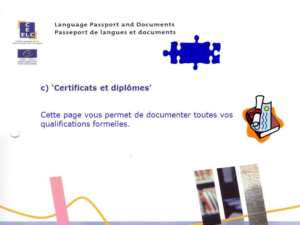 c) 'Certificats et diplômes'