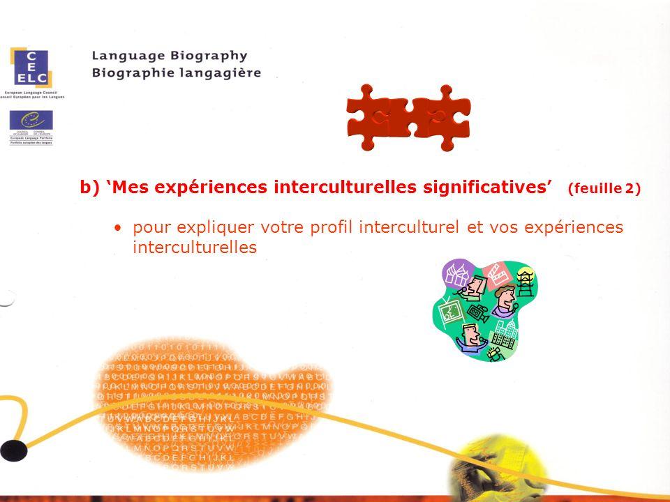 b) 'Mes expériences interculturelles significatives' (feuille 2)