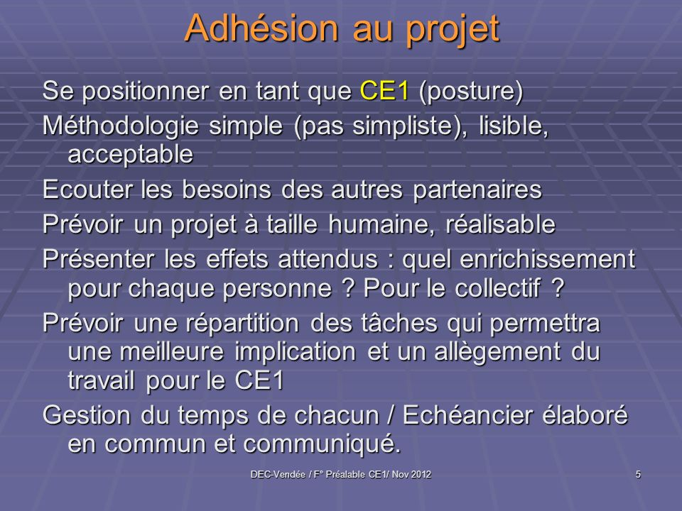 DEC-Vendée / F° Préalable CE1/ Nov 2012