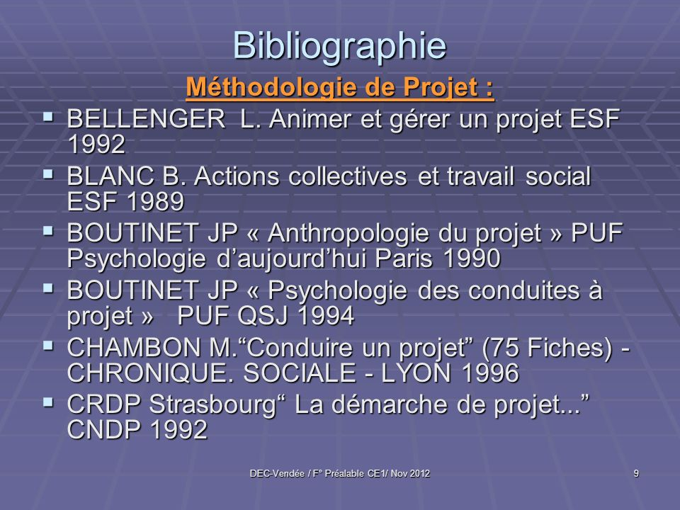 Bibliographie Méthodologie de Projet :