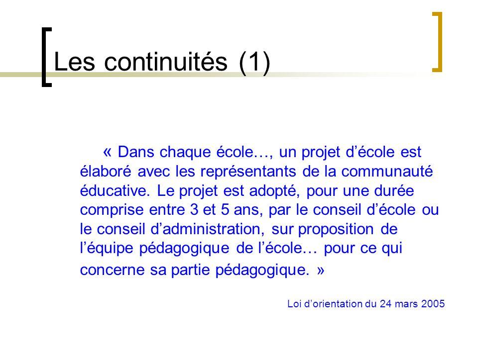 Les continuités (1)