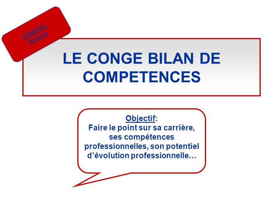 LE CONGE BILAN DE COMPETENCES