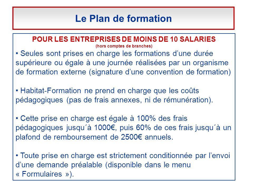 Le Plan de formation POUR LES ENTREPRISES DE MOINS DE 10 SALARIES. (hors comptes de branches)