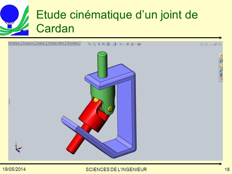 Etude cinématique d'un joint de Cardan