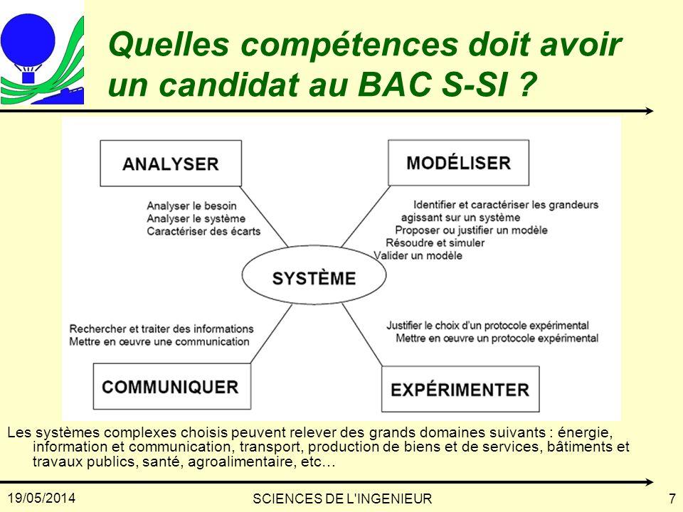 Quelles compétences doit avoir un candidat au BAC S-SI