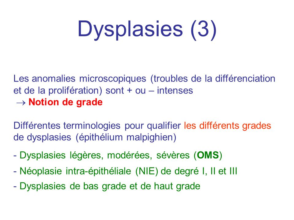Dysplasies (3) Les anomalies microscopiques (troubles de la différenciation et de la prolifération) sont + ou – intenses.