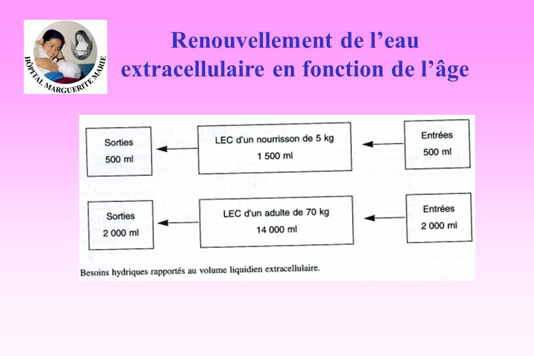 Renouvellement de l'eau extracellulaire en fonction de l'âge