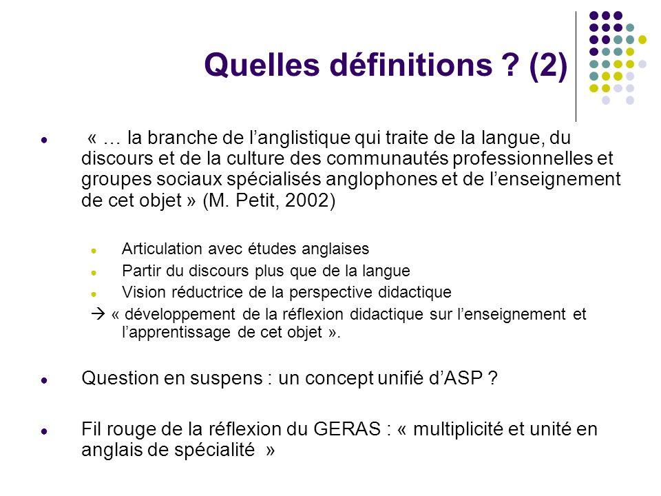 Quelles définitions (2)