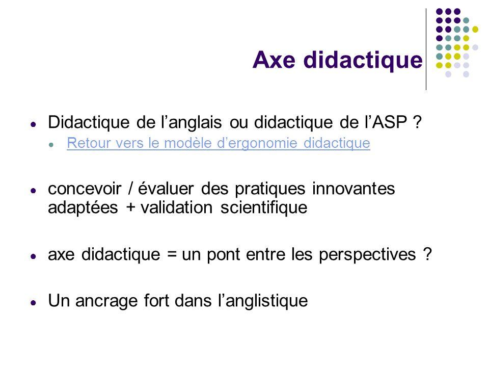 Axe didactique Didactique de l'anglais ou didactique de l'ASP