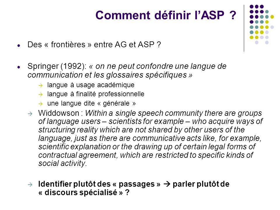 Comment définir l'ASP Des « frontières » entre AG et ASP