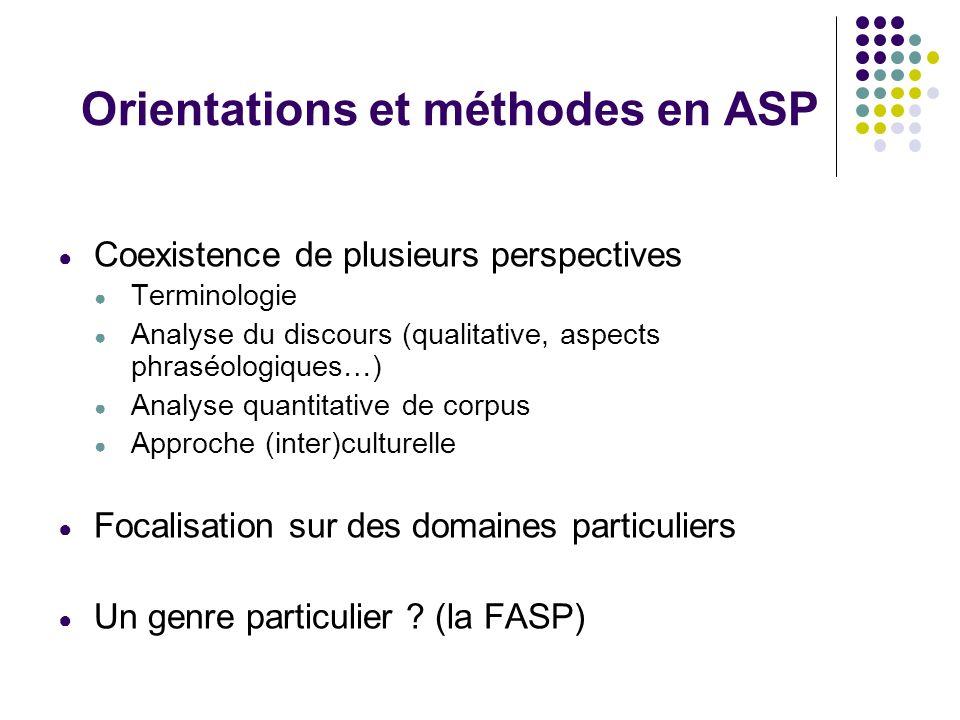 Orientations et méthodes en ASP