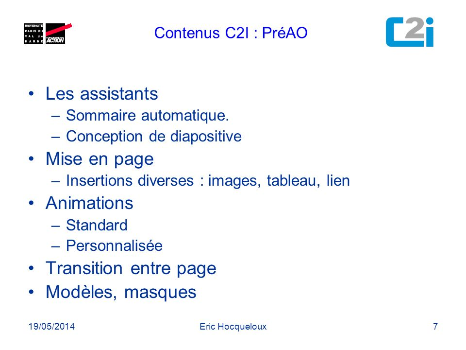 Les assistants Mise en page Animations Transition entre page