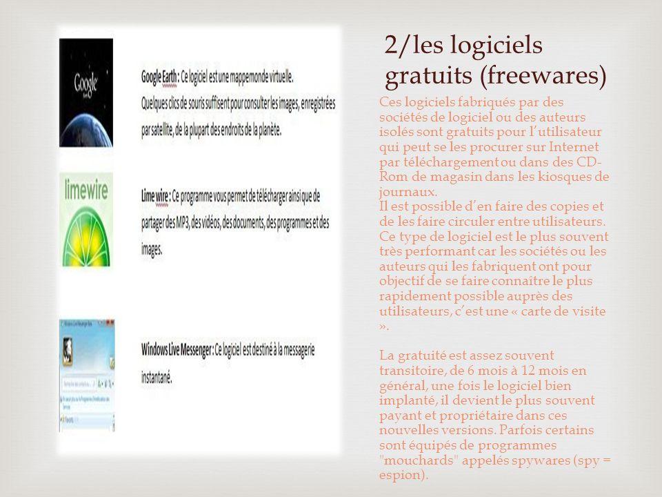 2/les logiciels gratuits (freewares)