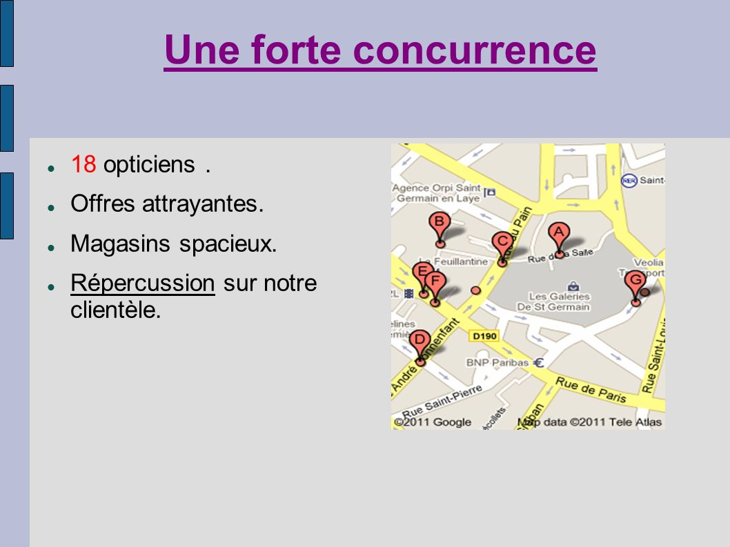 Une forte concurrence 18 opticiens . Offres attrayantes.