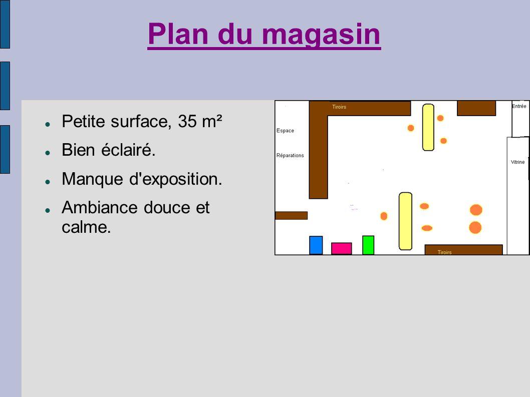 Plan du magasin Petite surface, 35 m² Bien éclairé.