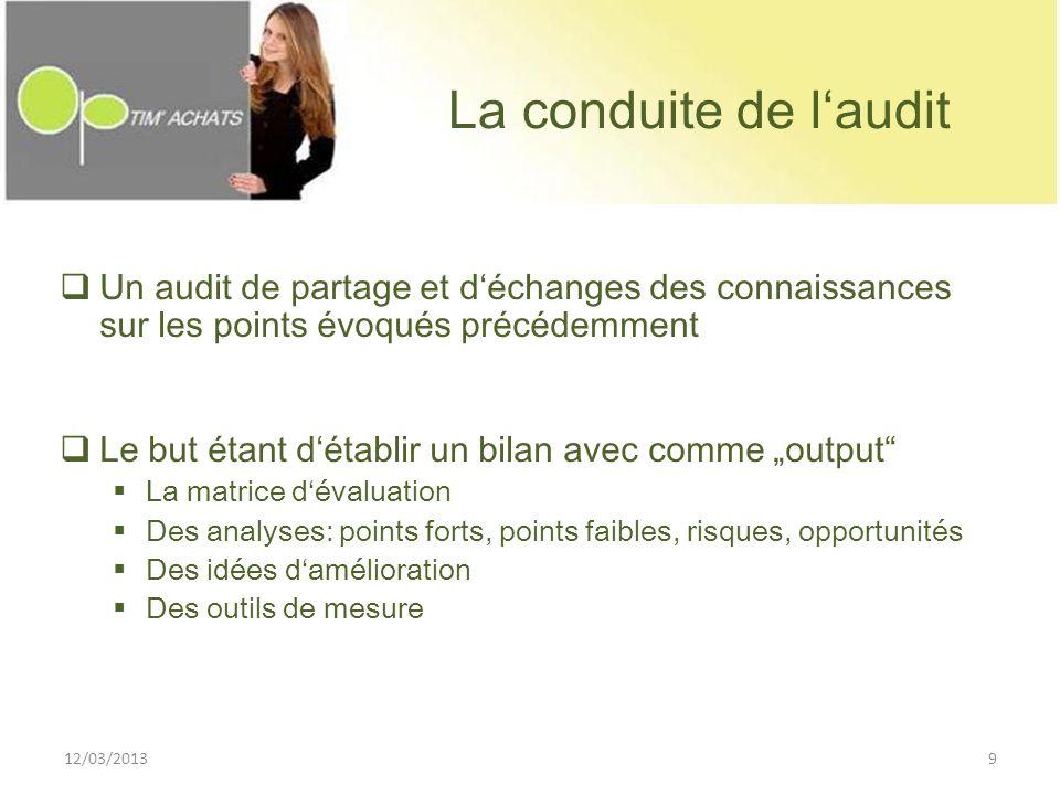 La conduite de l'audit Un audit de partage et d'échanges des connaissances sur les points évoqués précédemment.