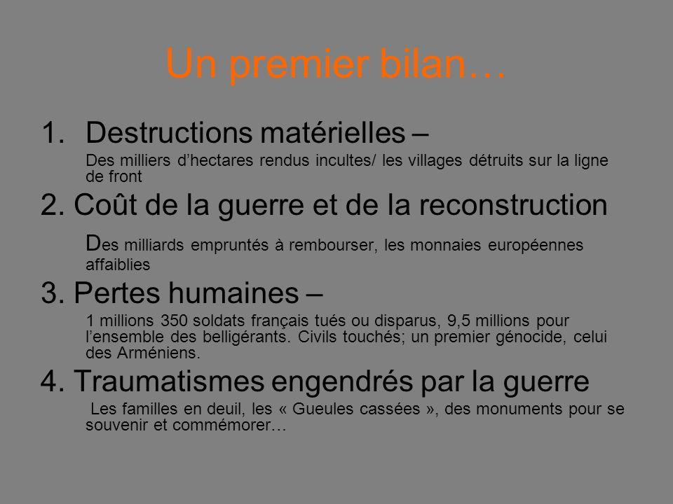 Un premier bilan… Destructions matérielles –