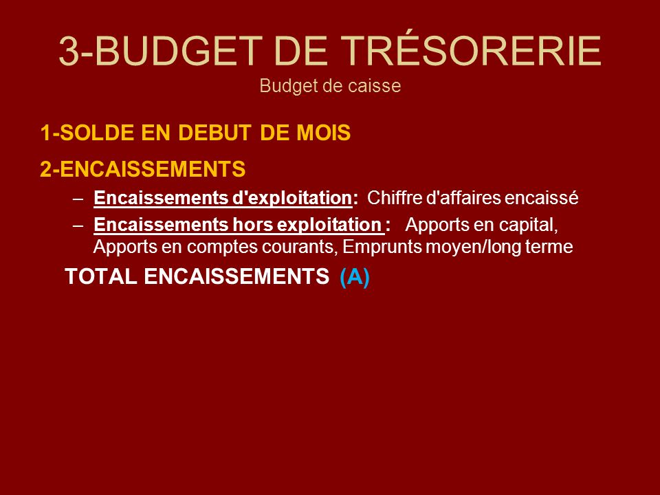 3-BUDGET DE TRÉSORERIE Budget de caisse