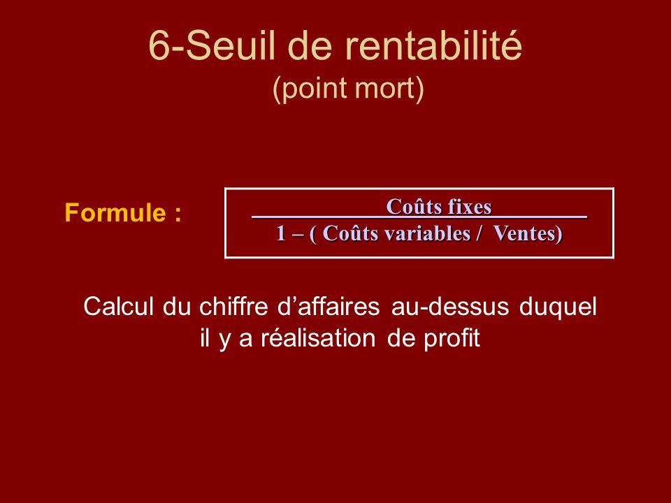 6-Seuil de rentabilité (point mort)
