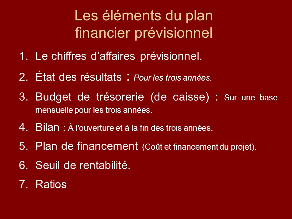financier prévisionnel