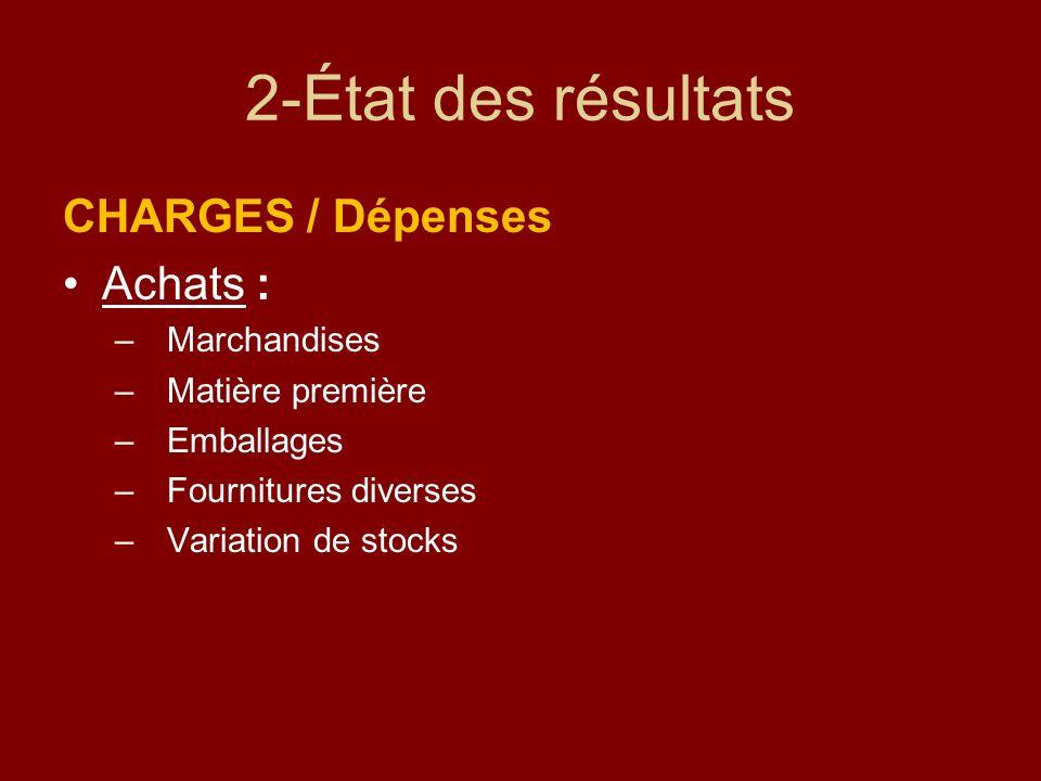 2-État des résultats CHARGES / Dépenses Achats : Marchandises