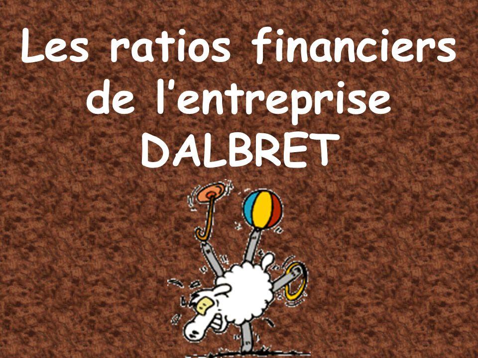 Les ratios financiers de l'entreprise DALBRET
