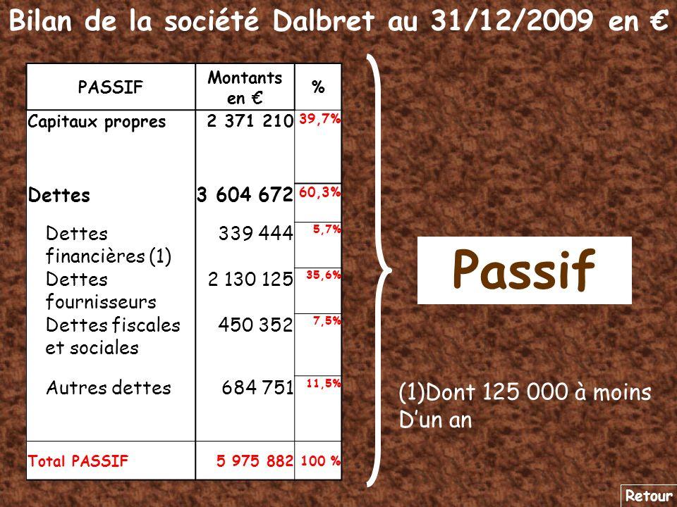Bilan de la société Dalbret au 31/12/2009 en €