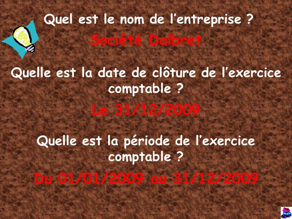 Société Dalbret Le 31/12/2009 Du 01/01/2009 au 31/12/2009