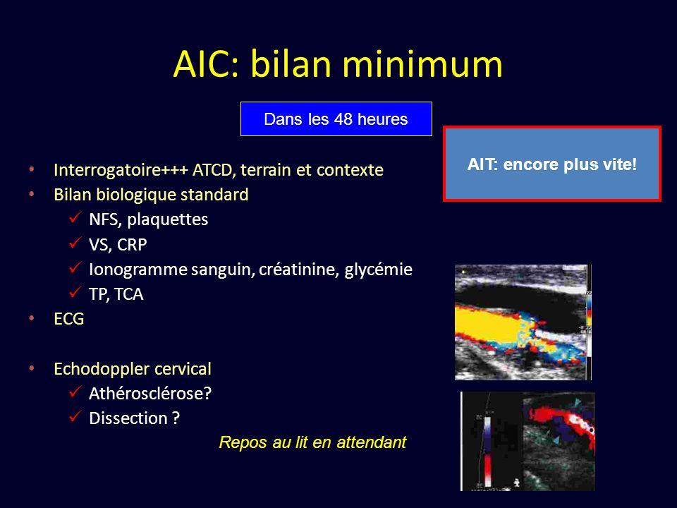 AIC: bilan minimum Interrogatoire+++ ATCD, terrain et contexte