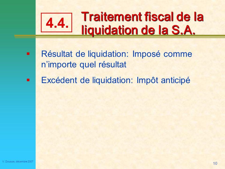 Traitement fiscal de la liquidation de la S.A.