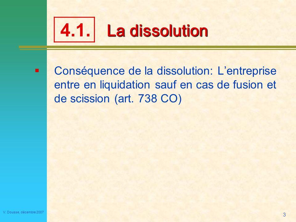 4.1. La dissolution. Conséquence de la dissolution: L'entreprise entre en liquidation sauf en cas de fusion et de scission (art. 738 CO)