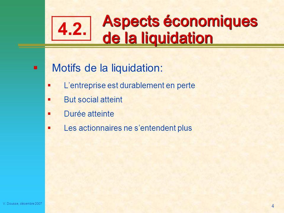 Aspects économiques de la liquidation
