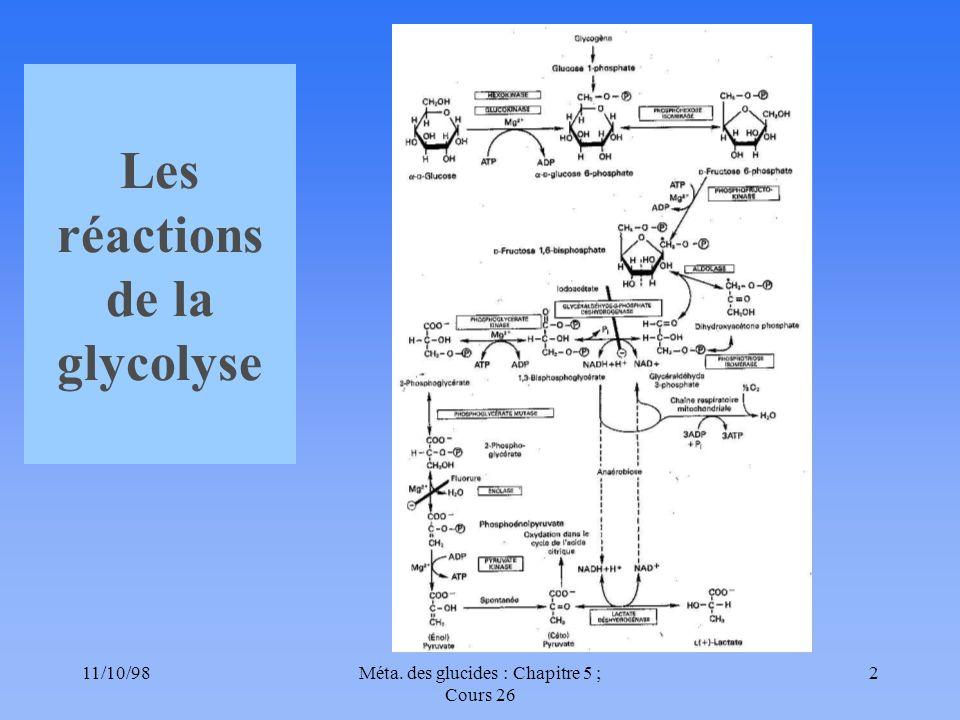 Les réactions de la glycolyse