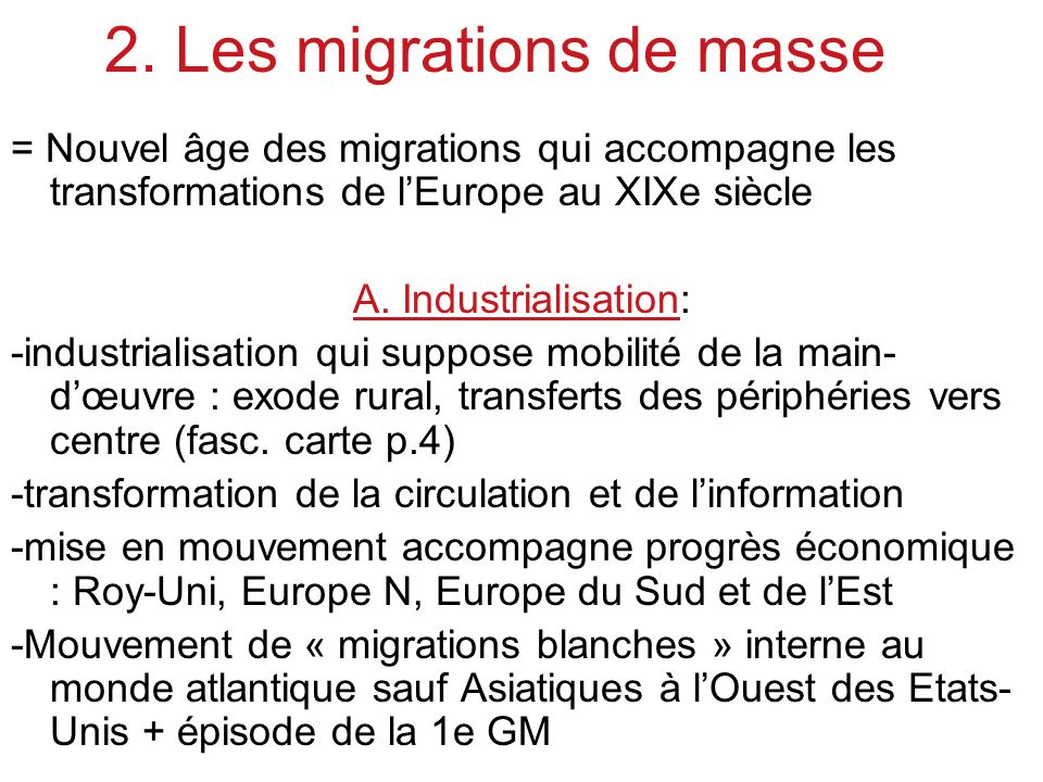 2. Les migrations de masse