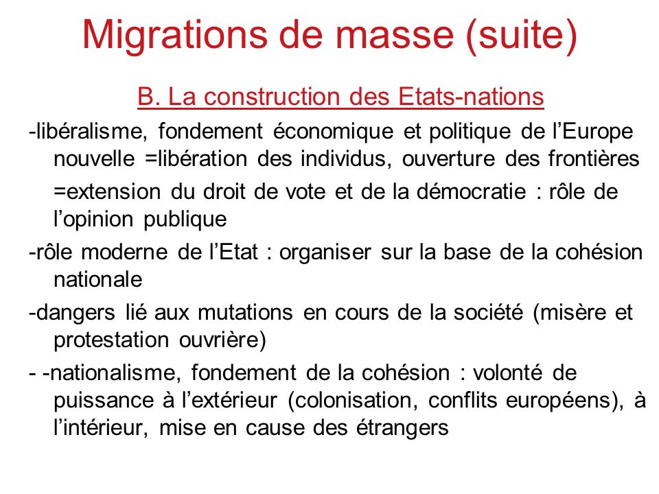 Migrations de masse (suite)