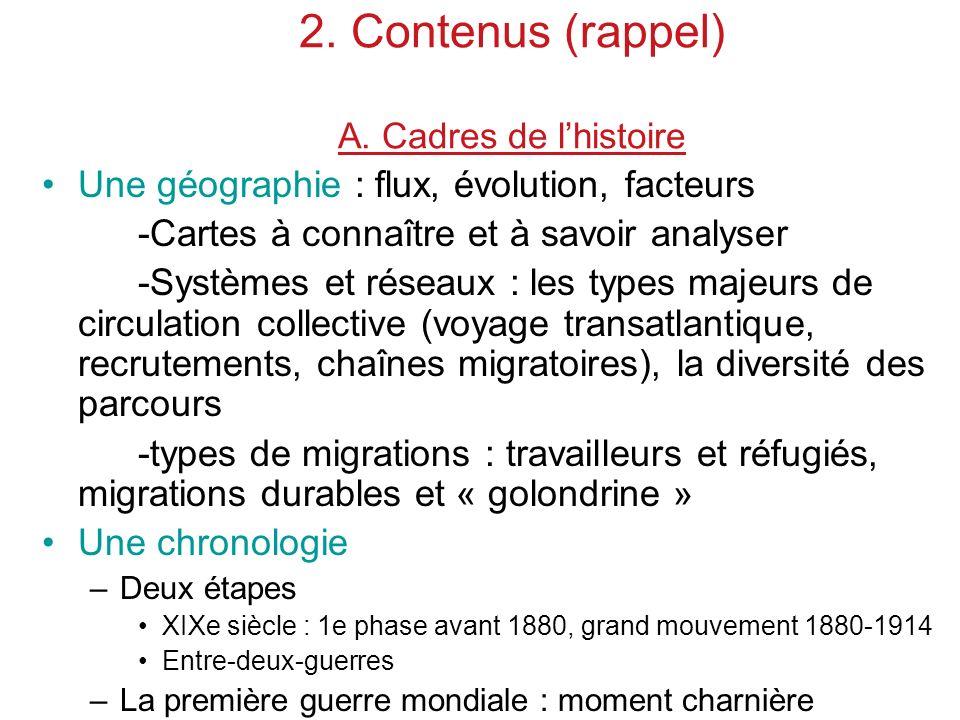 2. Contenus (rappel) A. Cadres de l'histoire