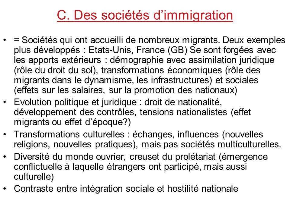 C. Des sociétés d'immigration