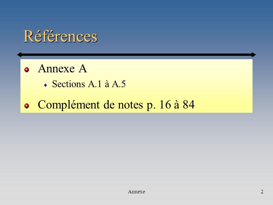 Références Annexe A Complément de notes p. 16 à 84 Sections A.1 à A.5