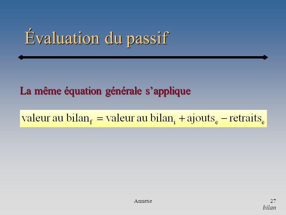 Évaluation du passif La même équation générale s'applique Annexe bilan