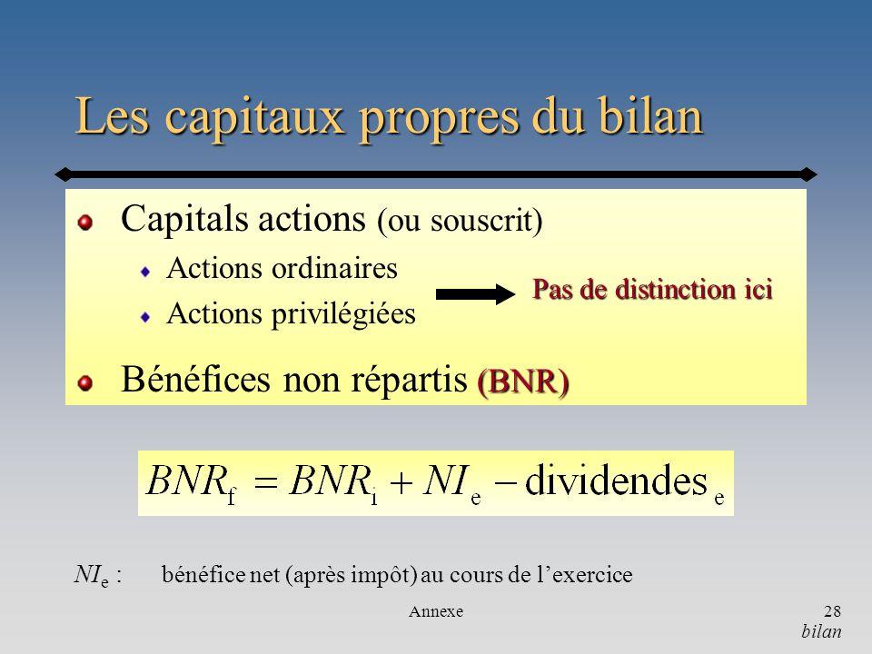 Les capitaux propres du bilan